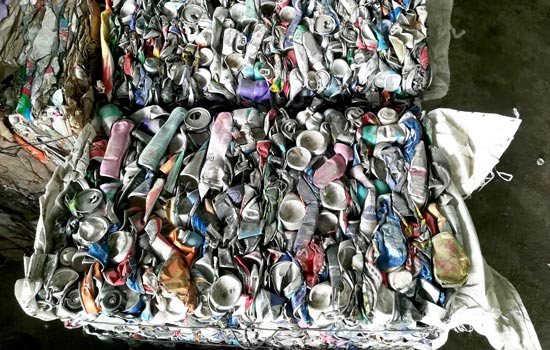 Waste plastic in material sorting plant